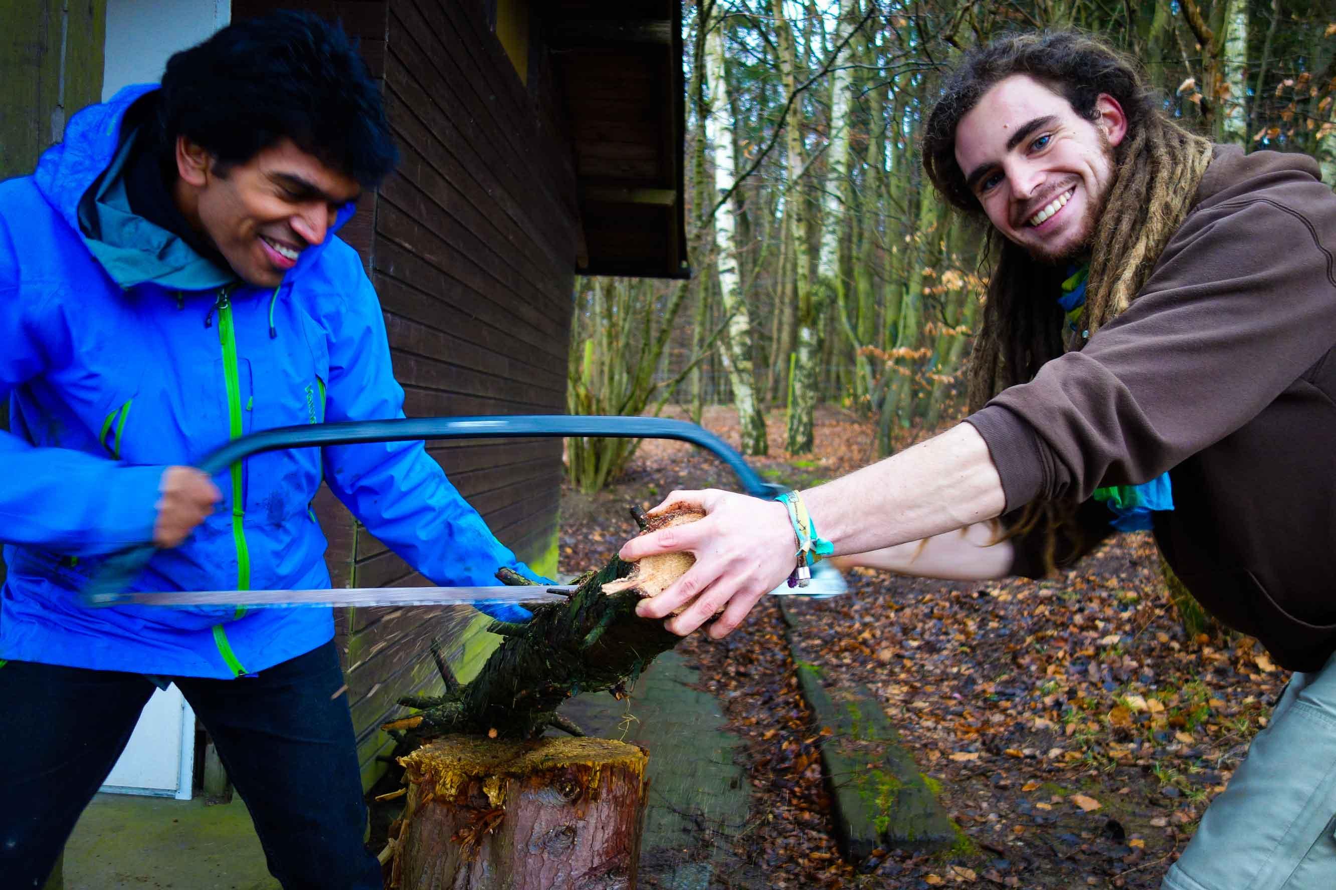 Holz saegen lernen